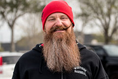 Bearded man at Crossfit Competition. Cane Island; Crossfit competition in Katy, TX. 2016 representing Westside Barbell Royalty Free Stock Photo
