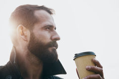 Bearded man with cup of morning coffee Stock Photography