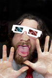 Bearded Man 3D Glasses Royalty Free Stock Photos