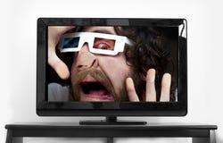 Bearded Man 3D Glasses Royalty Free Stock Photo