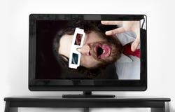 Bearded Man 3D Glasses Stock Photo