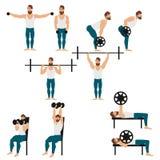 Bearded man doing workout vector illustration. stock illustration