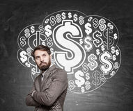 Bearded man and dollar sign cloud Stock Photos