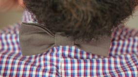 Bearded man dress bow tie stock video