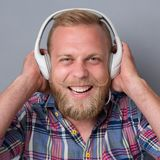 Bearded man in earphones Stock Photo