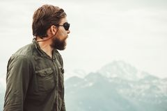 Bearded Man enjoying mountains view. Travel Lifestyle concept adventure vacations outdoor royalty free stock images