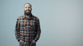 Confident hipster bearded man stock footage