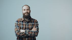 Confident hipster bearded man stock video footage