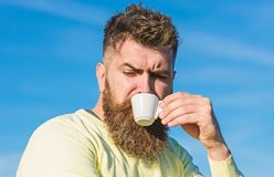 Bearded man with espresso mug, drinks coffee. Coffee gourmet concept. Man with long beard enjoy coffee. Man with beard stock photo