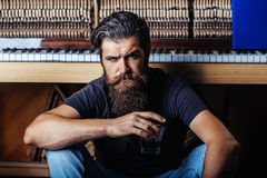 Bearded man with glass near wood piano Stock Photography