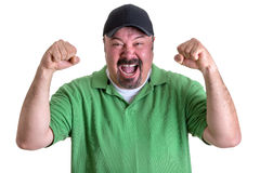 Bearded Man in Green Shirt Yelling Out Loud Royalty Free Stock Photography