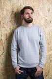 Bearded man grey sweatshirt Stock Images