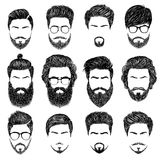 Bearded man hairstyles Stock Images