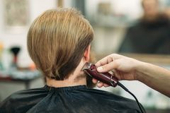 Bearded Man having a haircut with a hair clippers. Back view. Bearded Man having a haircut with a hair clippers royalty free stock images