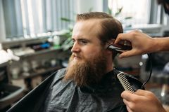 Bearded man having a haircut with a hair clippers royalty free stock images