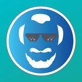Bearded Man Head Icon -  Vector - Thug life glasses - Avatar Royalty Free Stock Photo