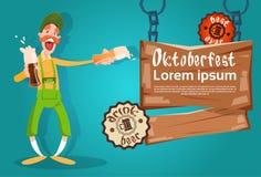 Bearded Man Hold Beer Glasses Oktoberfest Festival Banner Stock Photography