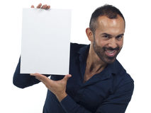 Bearded man holding a blank white canvas Stock Image
