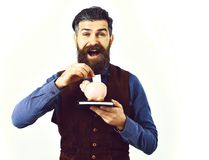 Bearded man holding notepad and moneybox with happy face. Bearded man, long beard, brutal caucasian hipster with moustache holding notepad and moneybox with Royalty Free Stock Images