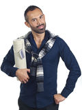 Bearded man holding a tubular gift box Royalty Free Stock Images