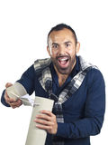 Bearded man holding a tubular gift box Royalty Free Stock Image