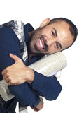 Bearded man holding a tubular gift box Stock Photo