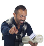 Bearded man holding a tubular gift box Stock Photo