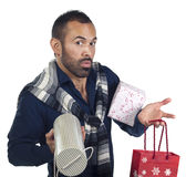Bearded man holding a variety of wrapped gifts Royalty Free Stock Images