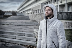 Bearded man in a hood Royalty Free Stock Photography