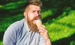 Bearded man with ice cream cone. Delicacy concept. Man with long beard eats ice cream, while sits on grass. Man with. Beard and mustache on face licks ice cream royalty free stock photos