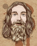 Bearded man illustration in vintage stile. Vector image Stock Photo