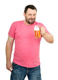 Portrait of lager fan. Portrait of lager bearded fan on white background Royalty Free Stock Image