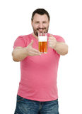 Happy hours in pub - bartender saying. White bearded bartender in red t-shirt inviting you for happy hours in pub Stock Photo