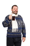 Bearded man invites you to pub. Bearded man in sweater invites you to pub on white background Stock Images
