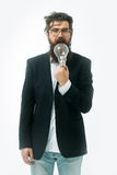Bearded man with lamp as einstein formula symbol Stock Image