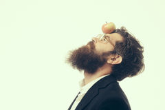 Bearded man with lamp as newtons law symbol. Young handsome bearded man scientist or professor in glasses with long beard holding lamp isolated on white Stock Images
