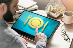 Concept of food order via internet. Image royalty free stock photos