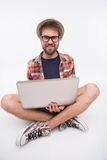 Bearded man with laptop Royalty Free Stock Image