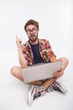 Bearded man with laptop Royalty Free Stock Photos