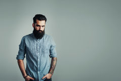 Bearded man on light blue background Royalty Free Stock Photography