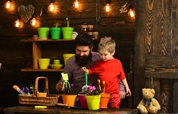 Bearded man and little boy child love nature. Father and son. Fathers day. happy gardeners with spring flowers. Flower stock photography