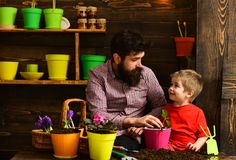 Bearded man and little boy child love nature. Father and son. Flower care watering. Soil fertilizers. happy gardeners. Bearded men and little boy child love stock photos