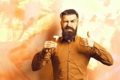 Bearded man, long beard. Brutal caucasian smiling happy hipster with moustache in brown shirt holding alcoholic red shot. On colorful texture background royalty free stock photos