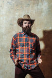 Bearded man with long beard in cowboy hat Stock Image