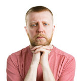 Bearded man looking straight into the camera Stock Photo