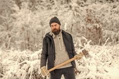 Bearded man lumberjack hold axe in snowy winter forest, camping royalty free stock photography
