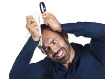 Bearded man with map and magnifying glass Stock Photography