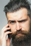 Bearded man with mobile phone Royalty Free Stock Photos