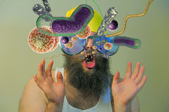Bearded Man Mouth Bacteria Stock Image