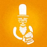 A bearded man with a mustache, glasses and a stylish hat cylinder. A mug of beer in his hand. The stylized face with a beard. Stock Photos